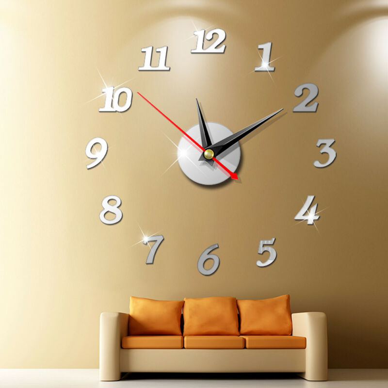 2019 New Clock Watch Wall Clocks 3D DIY Wall Clock Acrylic Mirror Stickers  Home Decoration Living Room Quartz Needle