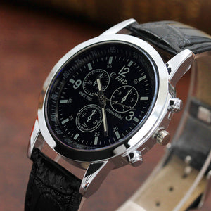 Fashion Faux Leather Mens Men's Watch Leather Military Casual Luxury Brand Quartz Wristwatches Stainless Business reloj hombre