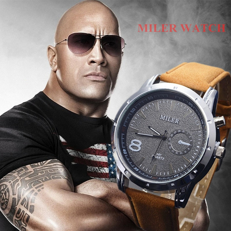 Miler Men Watches Top Brand Fashion Men's Leather Wrist watch Quartz Mens Watch Male Clock relogio masculino erkek kol saati