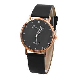 Fashion Women's Diamond Simple Watch Case Leather Band Round Dial Quartz Wrist Watch Small Diamond Relogio Feminino