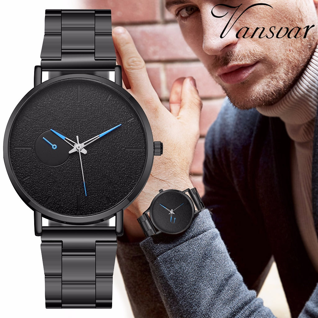Hot Sale Fashion Men Stainless Steel Sport Watches Casual Luxury Quartz Watch Men's Watch Vansvar Clock Relogio Masculino