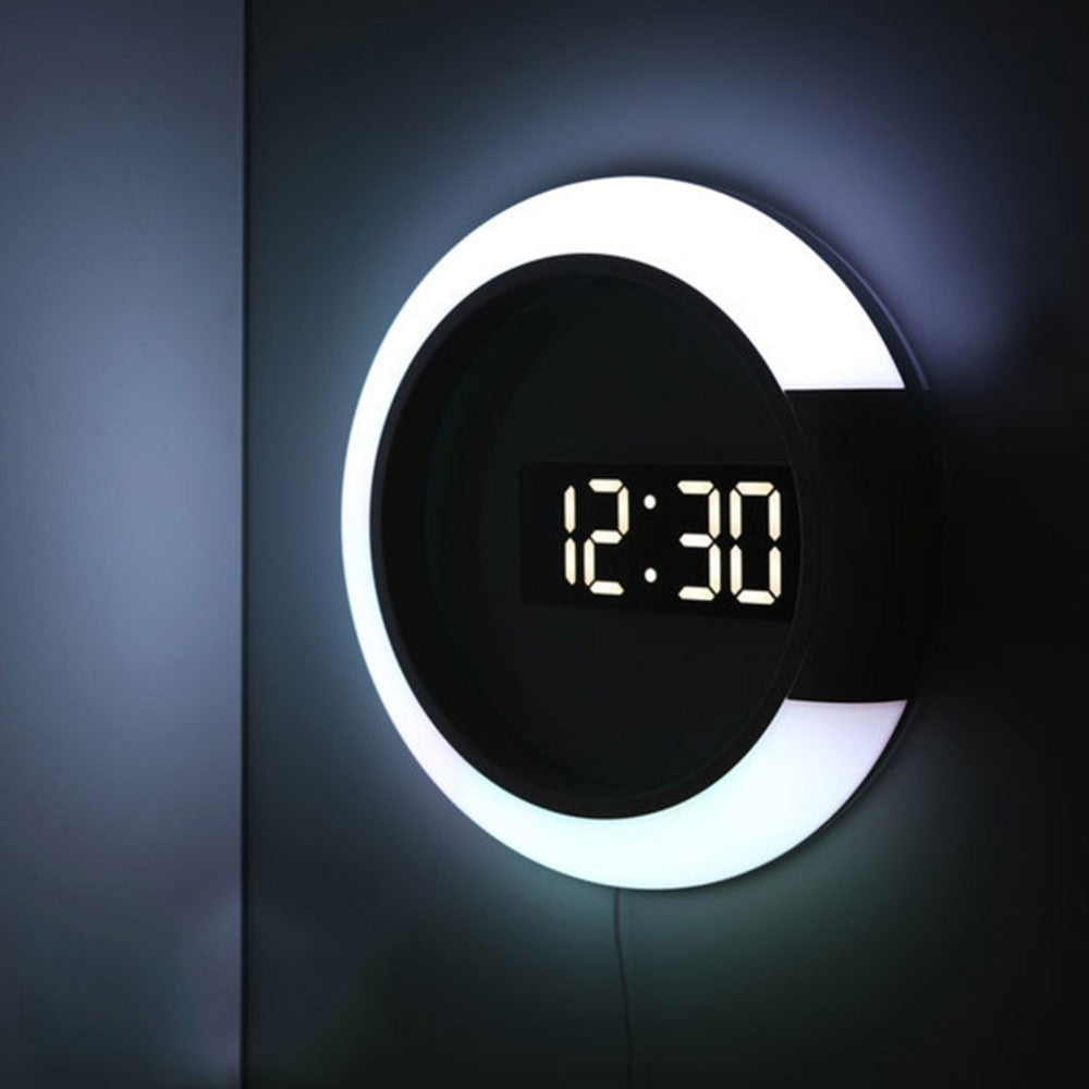 3D LED Digital Table Clock Alarm Mirror Hollow Wall Clock Modern Design Nightlight Wall Watch For Home Living Room Decorations