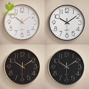 2019 Fashion Vintage Round Wall Clocks Modern Plasitc Clocks Quartz Horloge Watches Home Bedroom Living rooms Kitchen Wall Clock