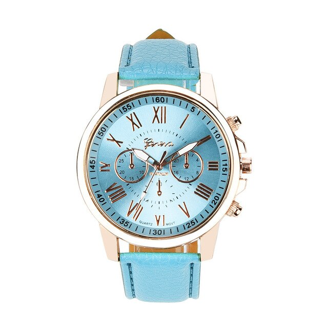 Geneva 2019 Women's Roman Numerals Watch Fashion Band Faux Leather Analog Quartz Watch Best Selling Dropshipping relogio Q