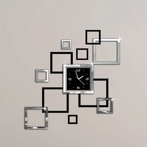 2018 new hot acrylic wall clocks 3d sticker europe fashion modern Quartz watch design sliver & black clocks art free shipping