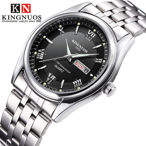 Relogio Masculino Luxury Brand Stainless Steel Analog Display Date Week Waterproof Men's Quartz Watch Business Male Wristwatches