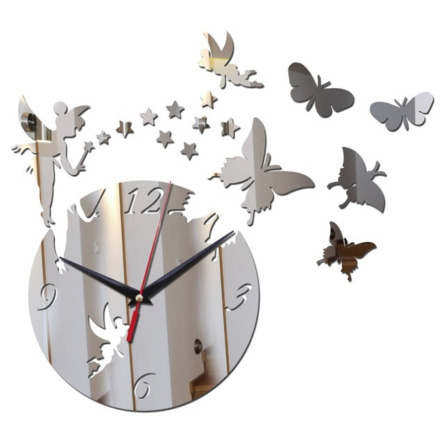 Hot sale diy geometric wall watches mirror acrylic quartz wall clock stars and butterfly decoration wall stickers