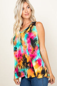 Tie Dye Sleeveless V Neck Swing Tunic Top