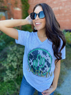 Darlin' Cactus Cow V Neck Tee