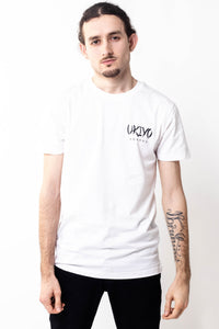 Mens White Small Print Tee - Ukiyo LDN
