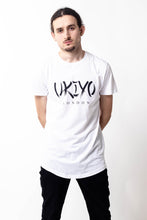 Load image into Gallery viewer, Mens White (Black) Long Line Tee - Ukiyo LDN