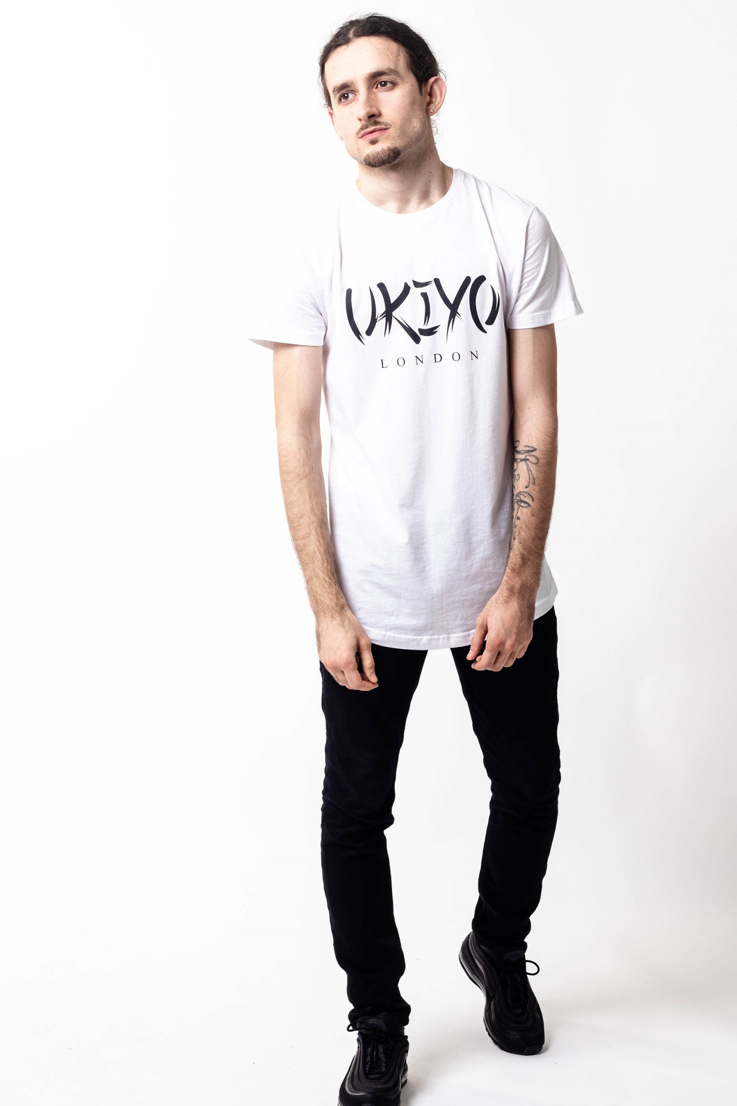 Mens White (Black) Long Line Tee - Ukiyo LDN