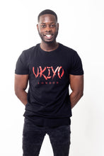 Load image into Gallery viewer, Mens Black (Red) Long Line Tee - Ukiyo LDN