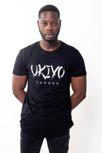 Mens Black (White) Long Line Tee - Ukiyo LDN
