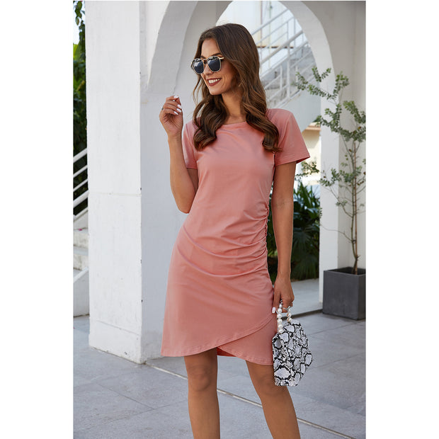 Pink Riviera Pleated High Waisted Dress