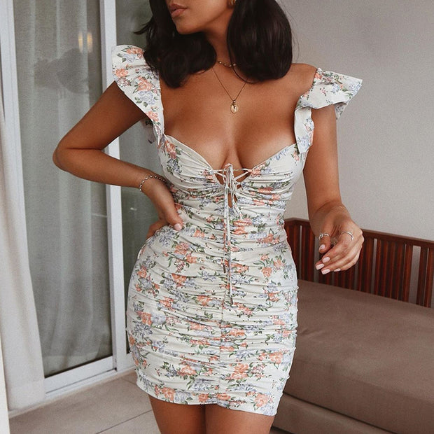 Sin-tillating Floral Print Dress With Ruffles