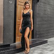 Red Carpet V-Neck Sequined Long Dress