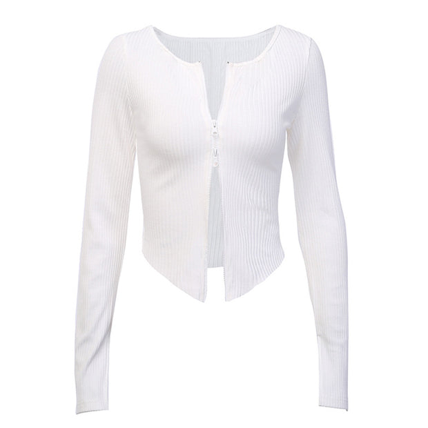 Knitted Blouse Split Up Long Sleeve Shirt With Zipper