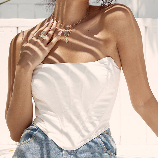White Off Shoulder Vintage Crop Top
