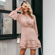 Chiffon Lace Dress With Long Lantern Sleeves