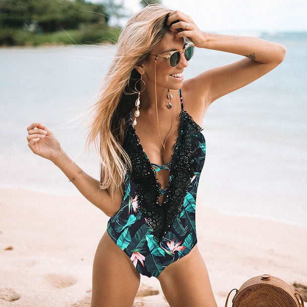 Arabesque Backless One-Piece Swimsuit