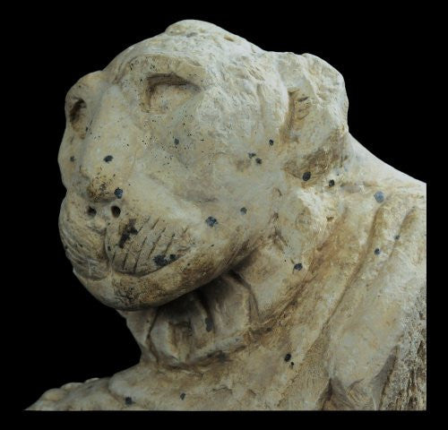 EGYPTIAN LIFE - SIZE LIMESTONE BUST OF A LION, 380 - 342 B.C.