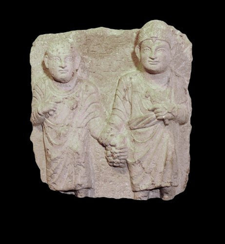 LIMESTONE RELIEF OF TWO BROTHERS, CIRCA 2ND CENT. A.D.