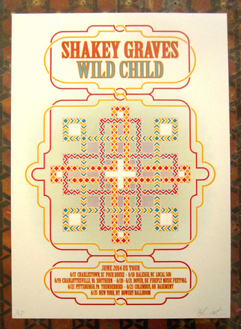 Shakey Graves & Wild Child Tour Poster 2014