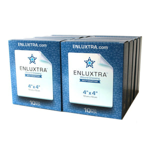 "ENLUXTRA Self-Adaptive Wound Dressing 4""x 4""(10x10cm) Case of 10 Boxes = 100 Dressings AWD-5-1010C"