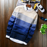 2018 Autumn Winter Wool Striped Sweater Mens