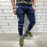 Knee Hole Stretch Ripped Jeans