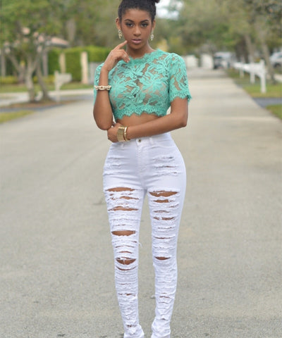 High Waist Ripped Jeans for Women Skinny