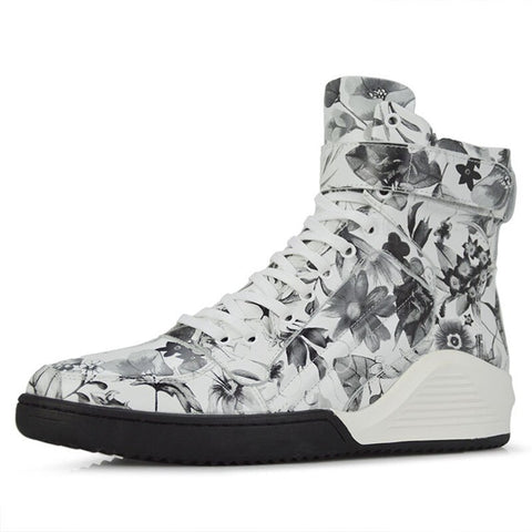 High-Top Floral Casual Sneakers