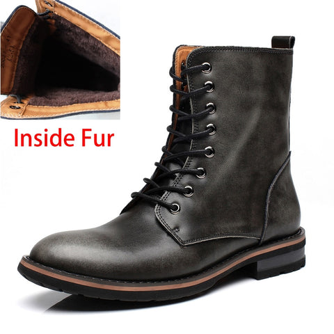 Vintage Combat Boots Winter Fur