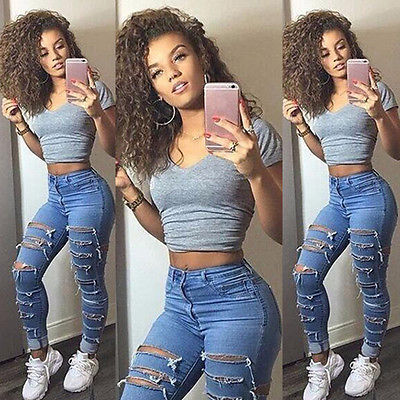 Women Denim Ripped Pants High Waist Stretch