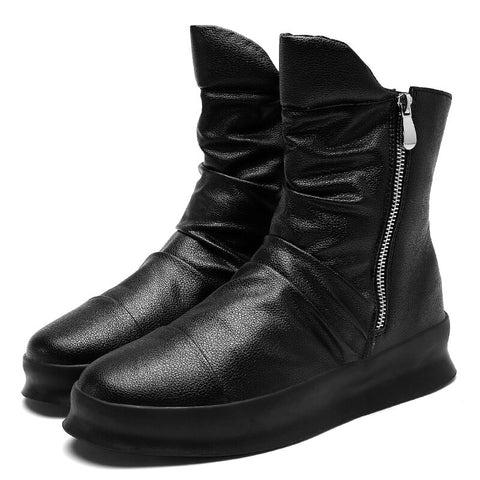Black Luxury Leather Casual Boots