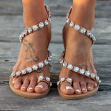 Flat Beach Sandal with Crystals