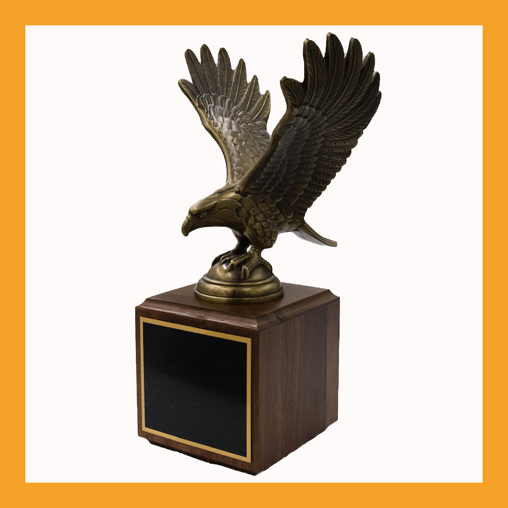 Antique Bronze Eagle on Walnut Base