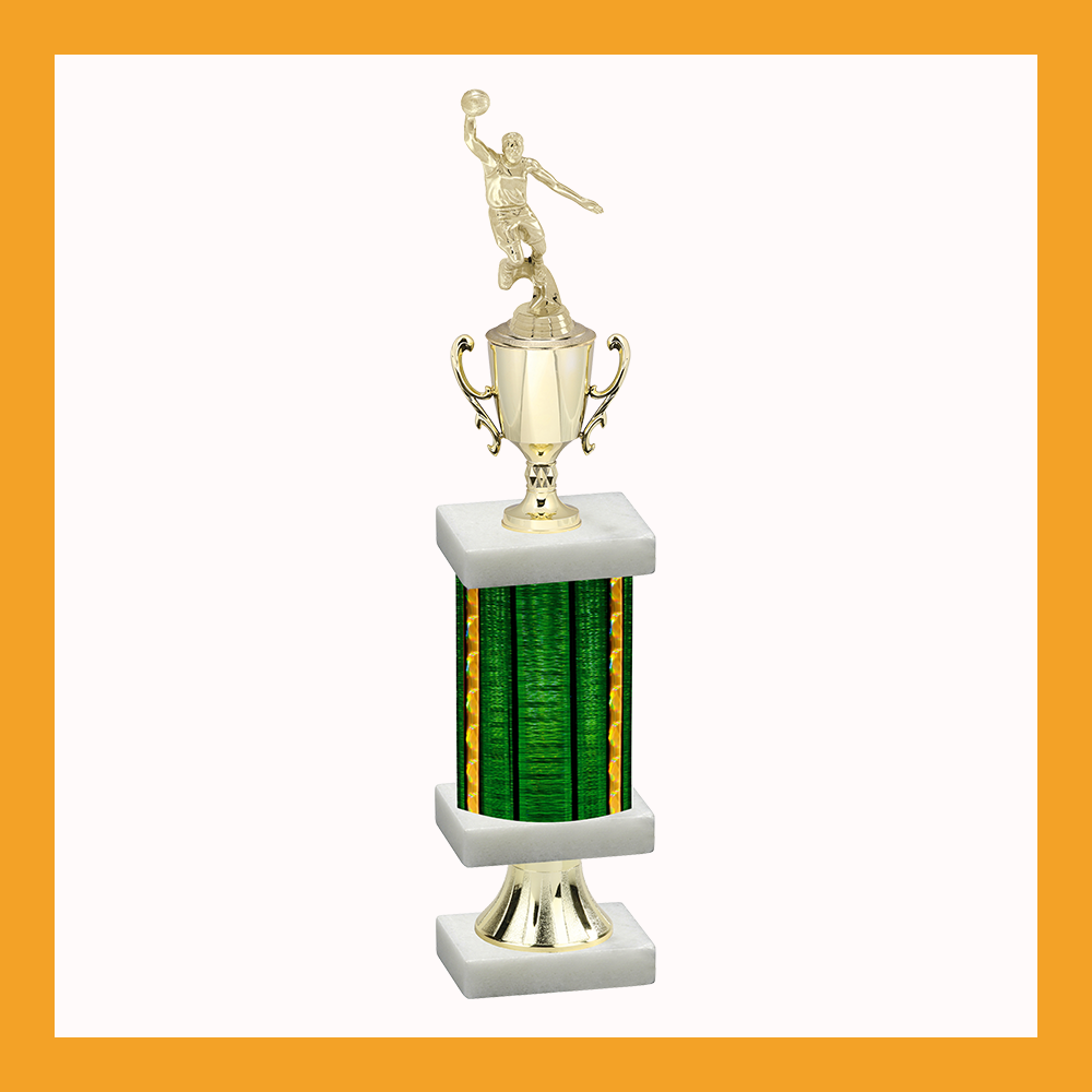 Basketball Column Pedestal Trophy With Cup