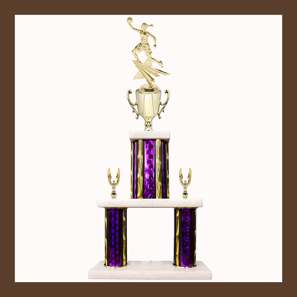 Basketball Marble Mini Two Poster Trophy With Cup