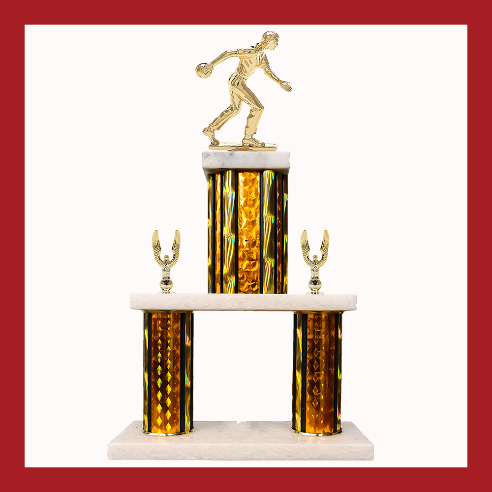 Bowling Marble Mini Two Poster Trophy