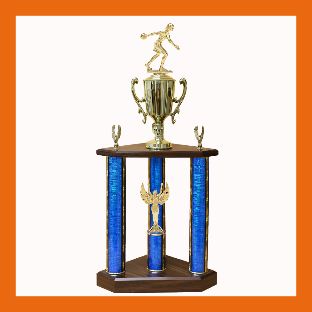 Bowling Marble Three Poster Trophy