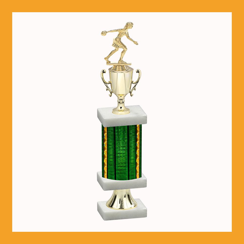 Bowling Column Pedestal Trophy With Cup