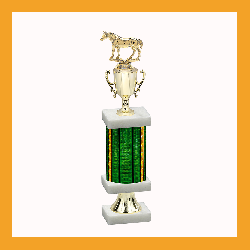 Equestrian Column Pedestal Trophy With Cup