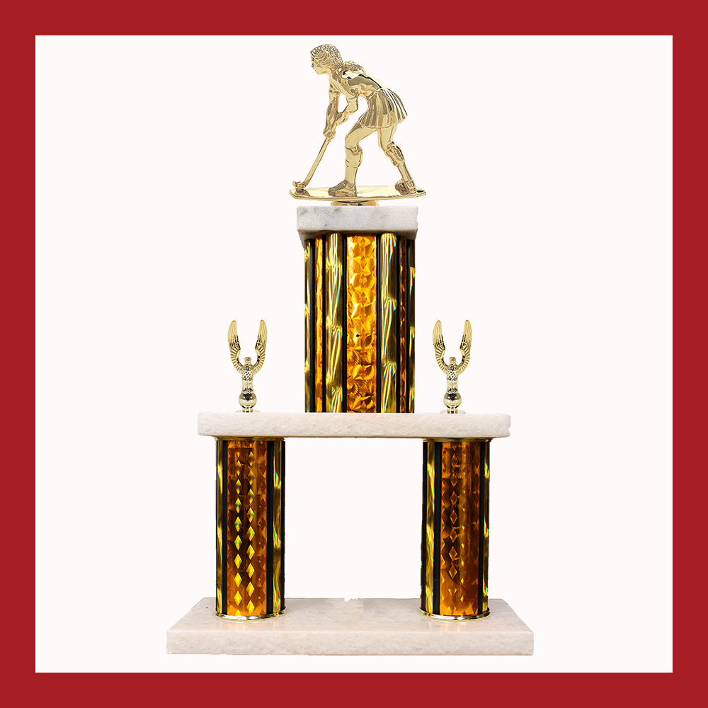 Field Hockey Marble Mini Two Poster Trophy