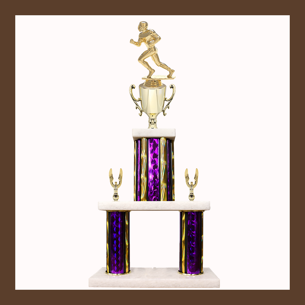 Football Marble Mini Two Poster Trophy With Cup