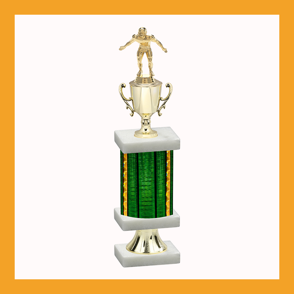 Football Column Pedestal Trophy With Cup