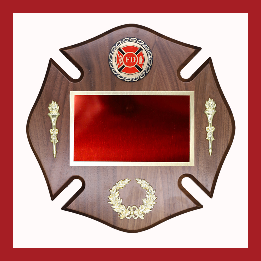 Fireman Maltese Cross Walnut Board