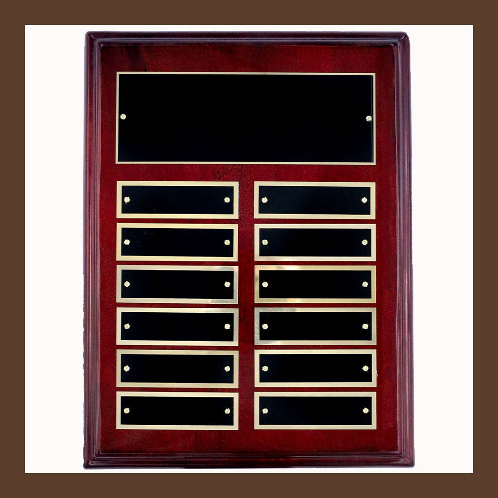 12-Plate Rosewood Piano Finish Perpetual Plaque