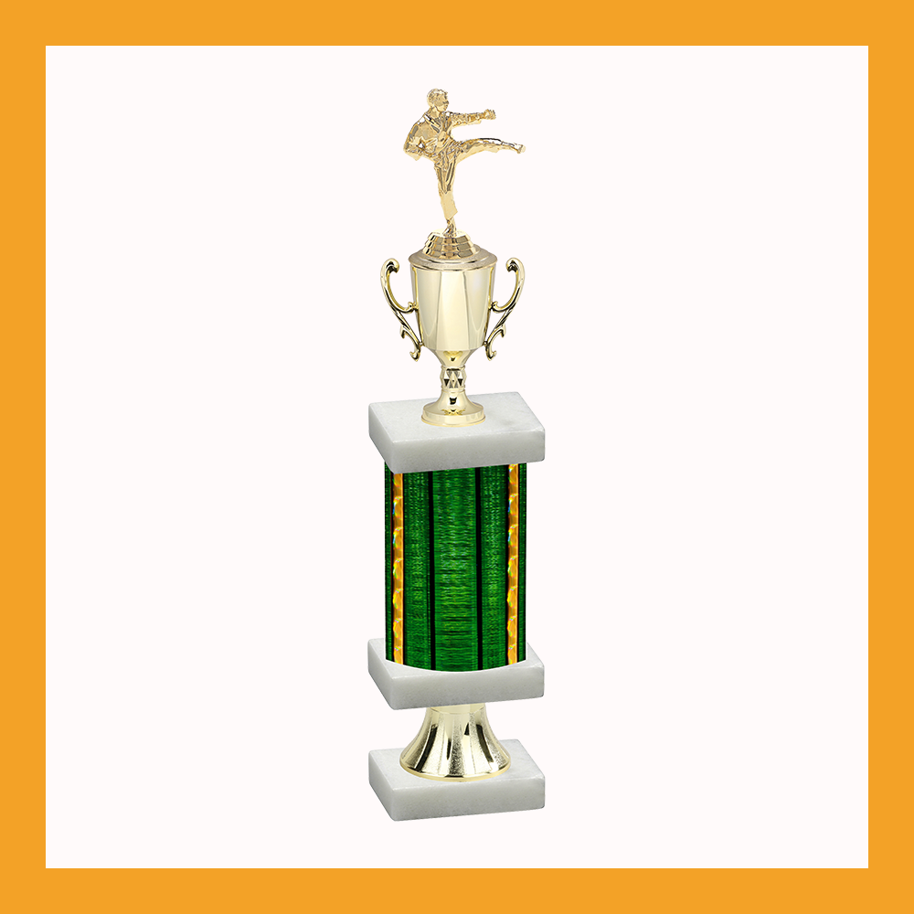 Martial Arts Column Pedestal Trophy With Cup